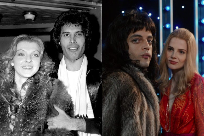 Freddie Mercury and Mary Austin, in real life and in the movie.