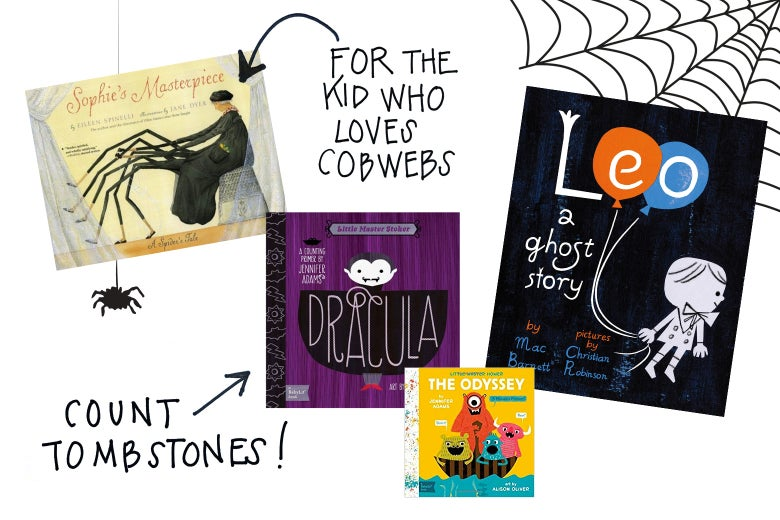 Book covers of Sophie's Masterpiece, Dracula: A Counting Primer, The Odyssey: A Monsters Primer, and Leo: A Ghost Story, with a cobweb.