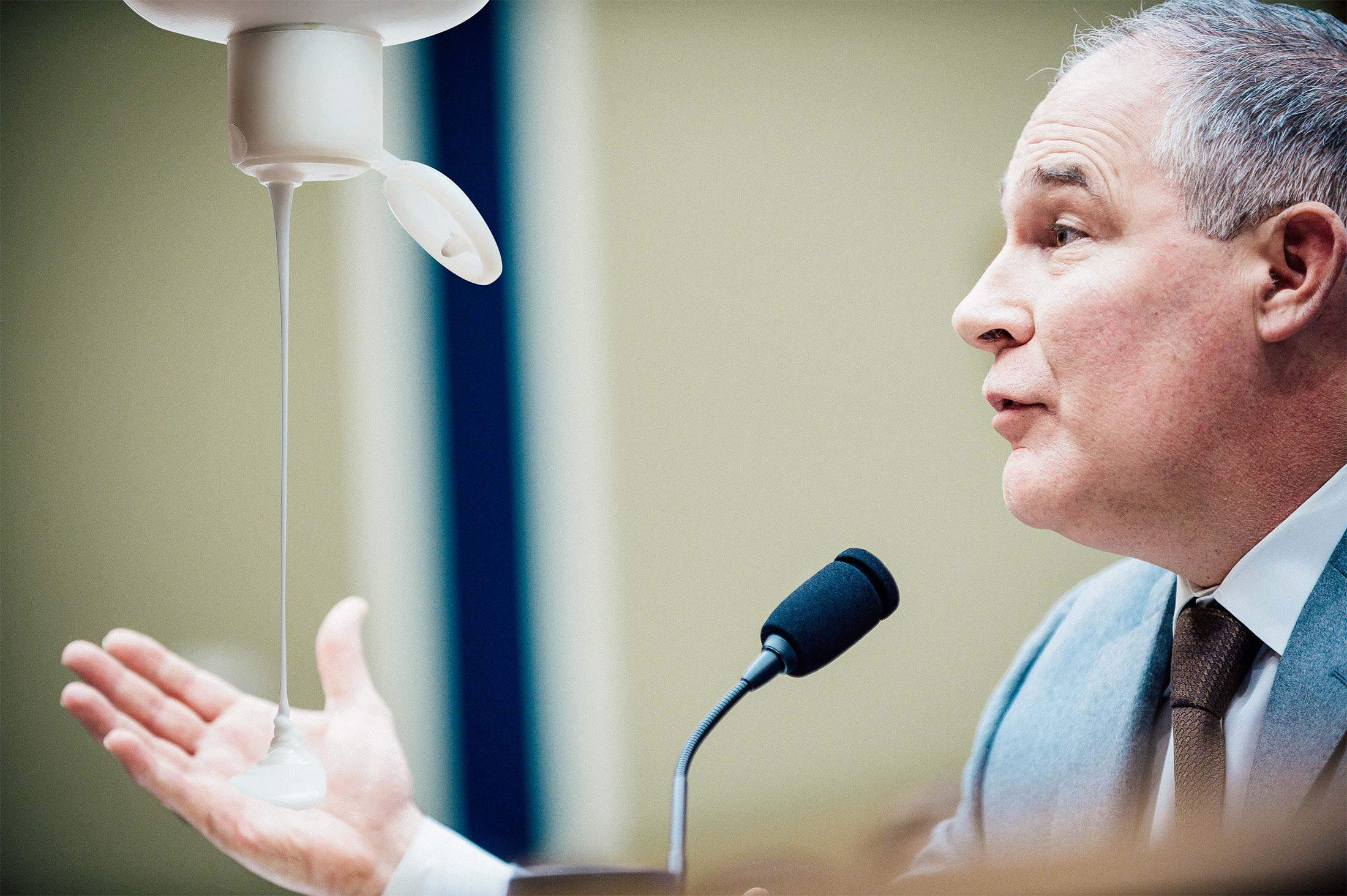 Pruitt gestures with his right hand as it is filled by a giant photoshopped bottle of lotion.
