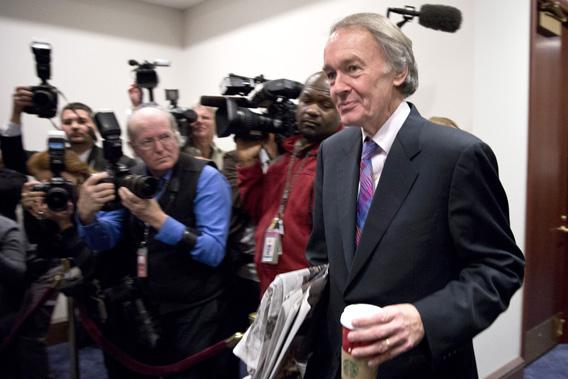 "Congressman Ed Markey (D-MA) arrives to meet with House Democrats and U.S. Vice President Joseph Biden about a solution for the ""fiscal cliff"" on Capitol Hill in Washington January 1, 2013."