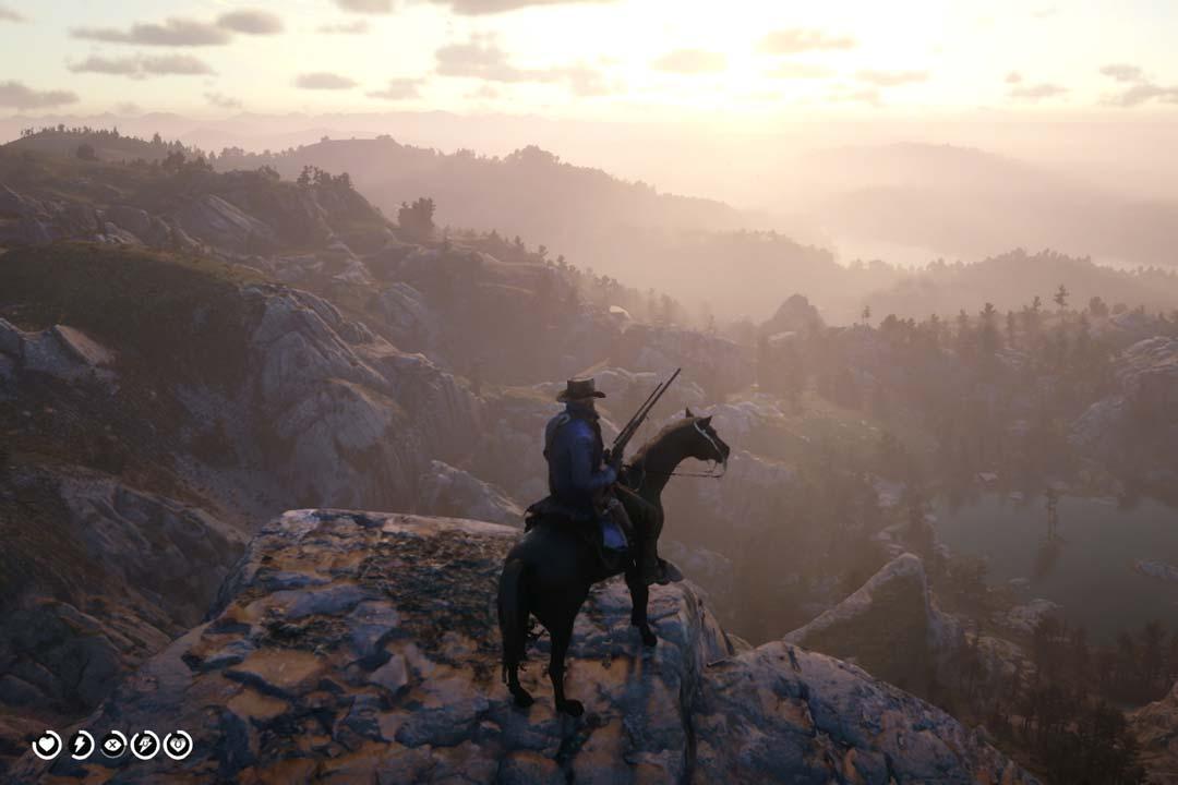 Arthur Morgan on horseback