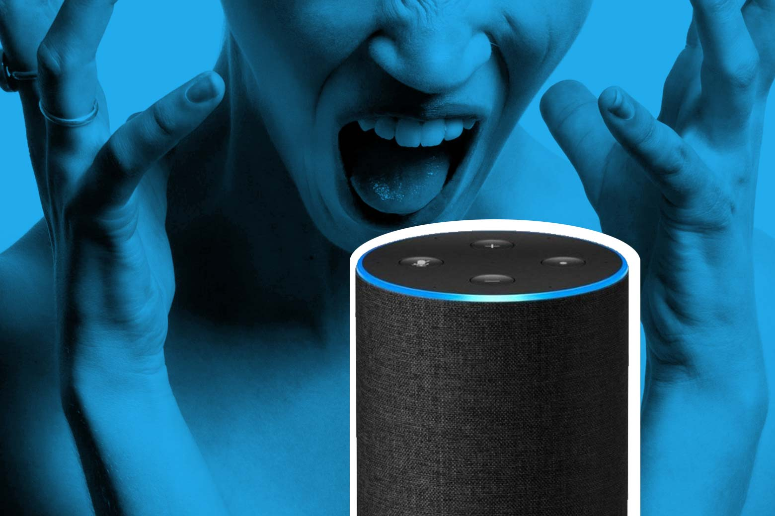 Someone looking frustrated while talking to an Amazon Echo.