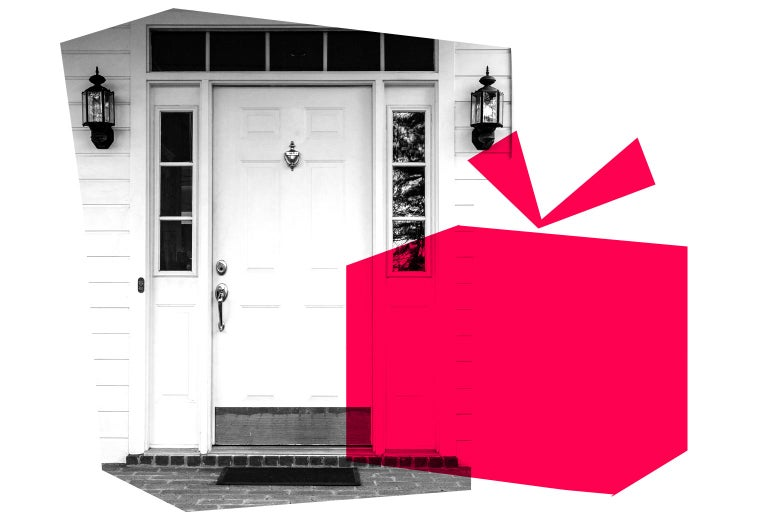 A collage shows an image of a door to a home and a graphic of gift box.