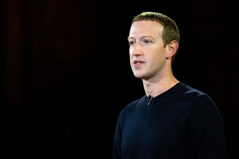 A close-up of Mark Zuckerberg during his Georgetown speech.