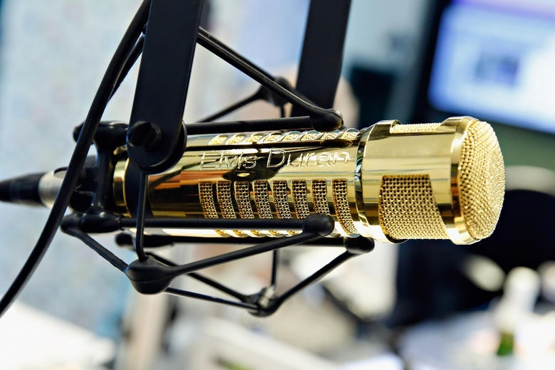 "A view of a gold microphone presented to host Elvis Duran for his birthday as ""The Elvis Duran Z100 Morning Show"" celebrate Elvis Duran's 50th Birthday at Z100 Studio on Aug. 5, 2014 in New York City."