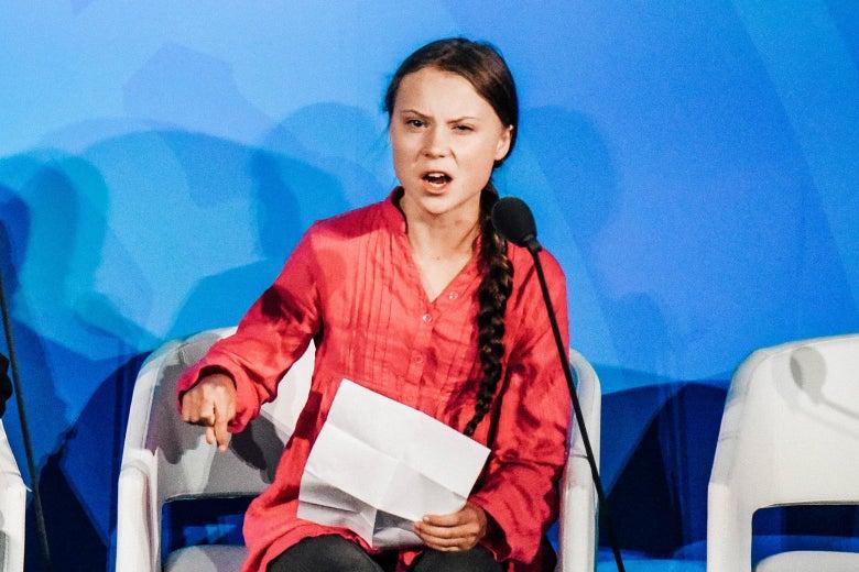 Greta Thunberg gives a speech.