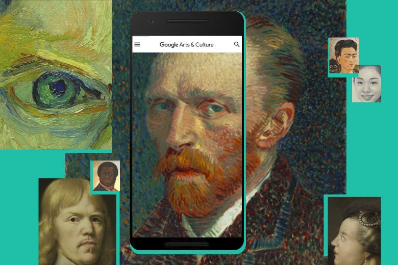 A van Gogh self-portrait and other images float around an iPhone.