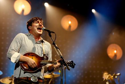 Marcus Mumford of Mumford and Sons performs on stage on December 11 in London, England.