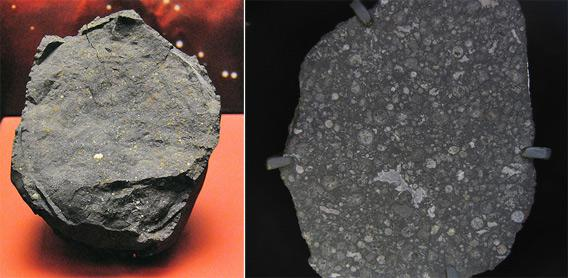 Two carbonaceous chondrite meteorites.