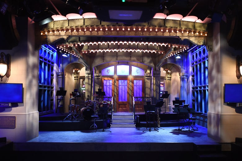 The SNL stage on  display during a media preview on May 29, 2015 at the Saturday Night Live: The Exhibition.