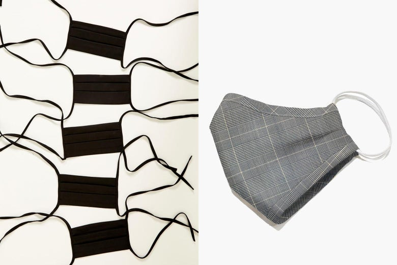 A split image of five simple black face masks on the left and a plaid face mask on the right