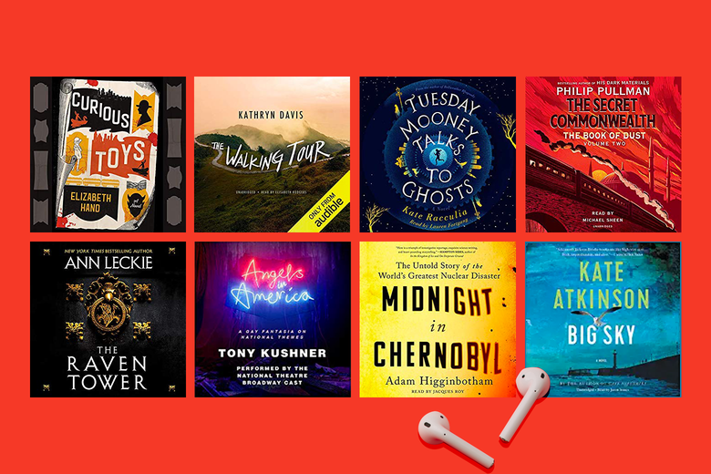 Audiobook covers for the books mentioned in this piece with a pair of AirPods sitting in front of them.