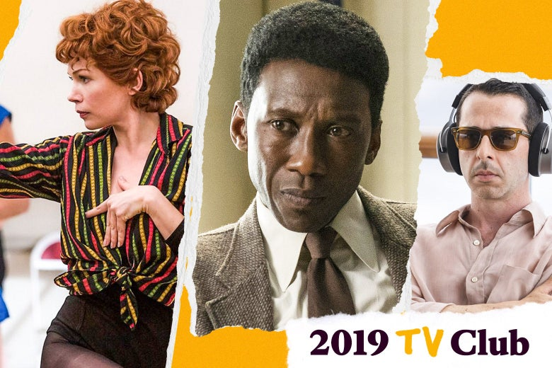 Collage of Michelle Williams in Fosse/Verdon dancing in a striped shirt, Mahershala Ali in True Detective wearing a suit and looking serious, and Jeremy Strong in Succession on a boat pouting with headphones on. Text in the corner says 2019 TV Club.