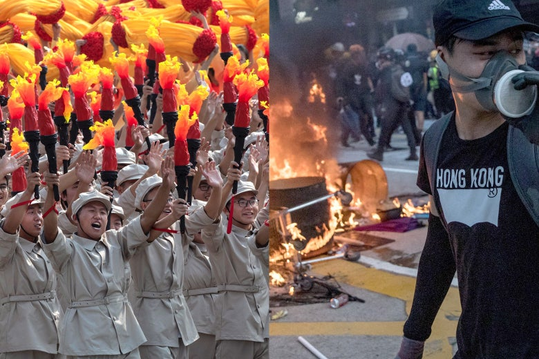 Photo illustration of Beijing's pageantry and Hong Kong protests