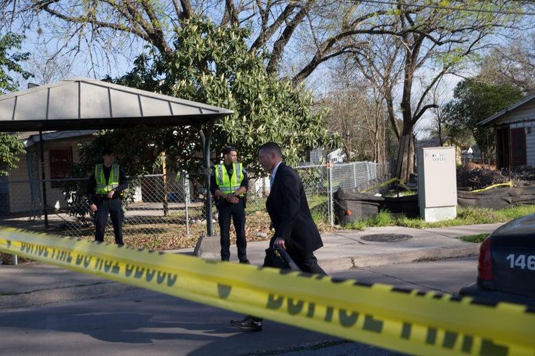 Police on the scene near Galindo Street in Austin, Texas.