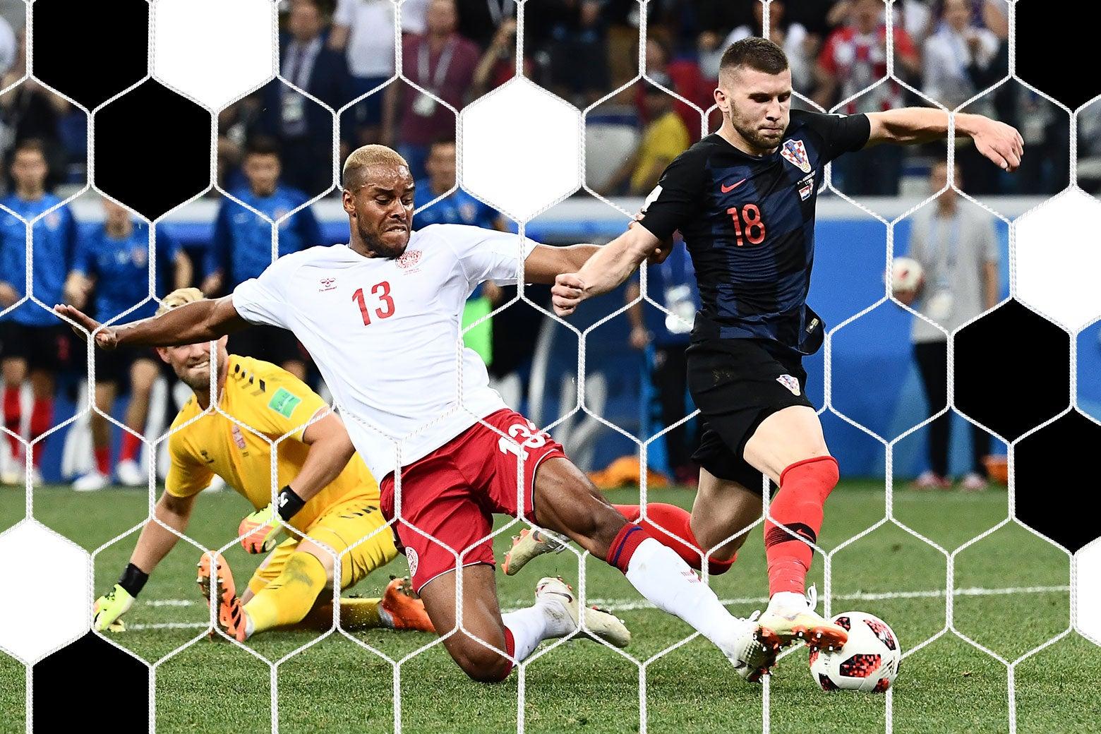 Denmark's defender Mathias Jørgensen fouls Croatia's forward Ante Rebić.