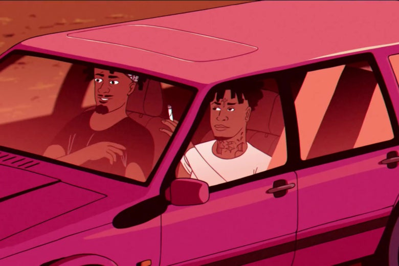 Animated versions of Metro Boomin and 21 Savage, sitting in a car, passing a joint.