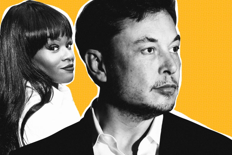 Photo illustration of Azealia Banks and Elon Musk.