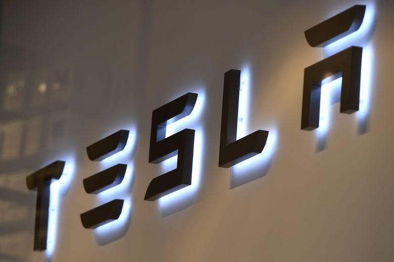 A Tesla sign.