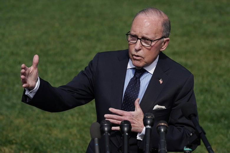National Economic Council Director Larry Kudlow talks to reporters outside the White House May 03, 2019.