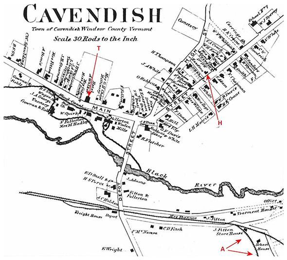1869 map of Cavendish, Vermont. (A) indicates two possible accident sites.