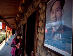 A portrait of Chairman Mao at a restaurant next to the Anji King Valley Country Club. Click image to expand.