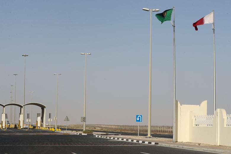 A general view of the Qatari side of the Abu Samrah border crossing with Saudi Arabia on June 23, 2017.  On June 5, Saudi Arabia and its allies cut all diplomatic ties with Qatar, pulling their ambassadors from the gas-rich emirate and giving its citizens a two-week deadline to leave their territory. The measures also included closing Qatar's only land border, banning its planes from using their airspace and barring Qatari nationals from transiting through their airports. / AFP PHOTO / KARIM JAAFAR        (Photo credit should read KARIM JAAFAR/AFP/Getty Images)