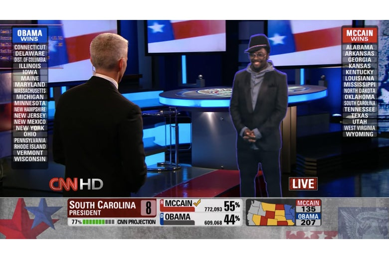The will.i.am hologram talking to Anderson Cooper on CNN.