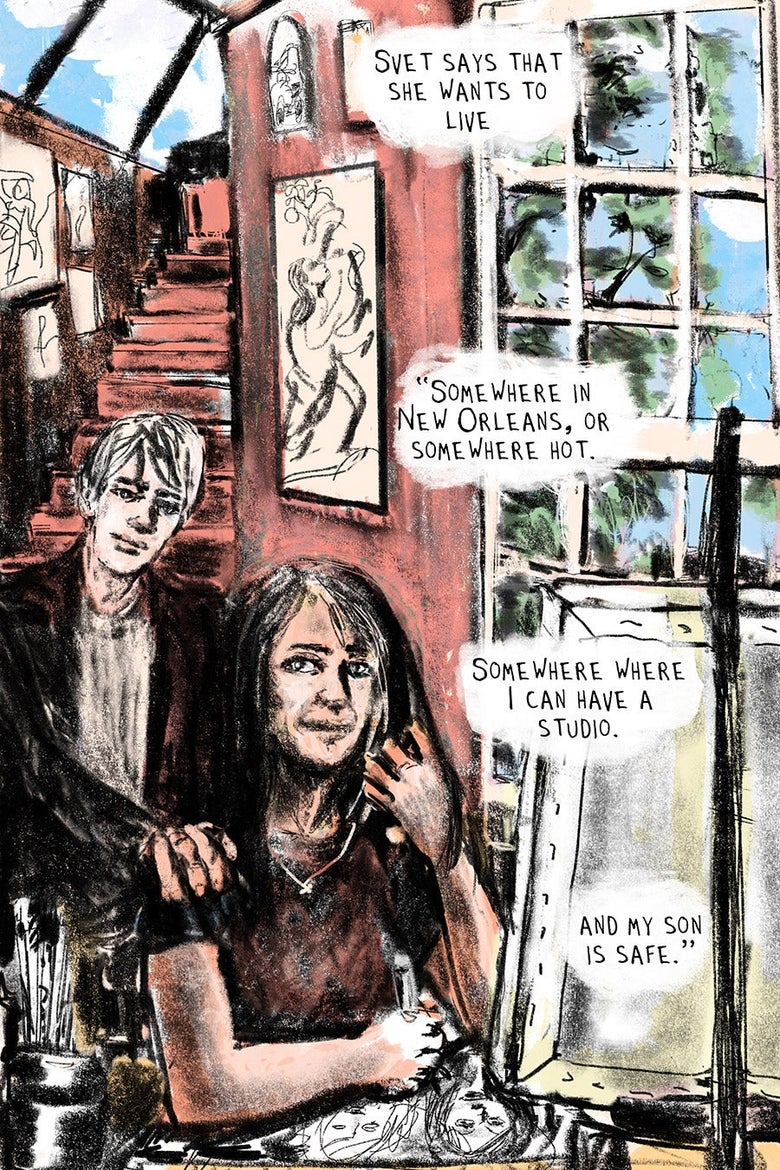 """Svet with her son in a nice house, art on the walls.  Svet says that she wants to live """"Somewhere in New Orleans, or somewhere hot. Somewhere where I can have a studio. and my son is safe."""""""