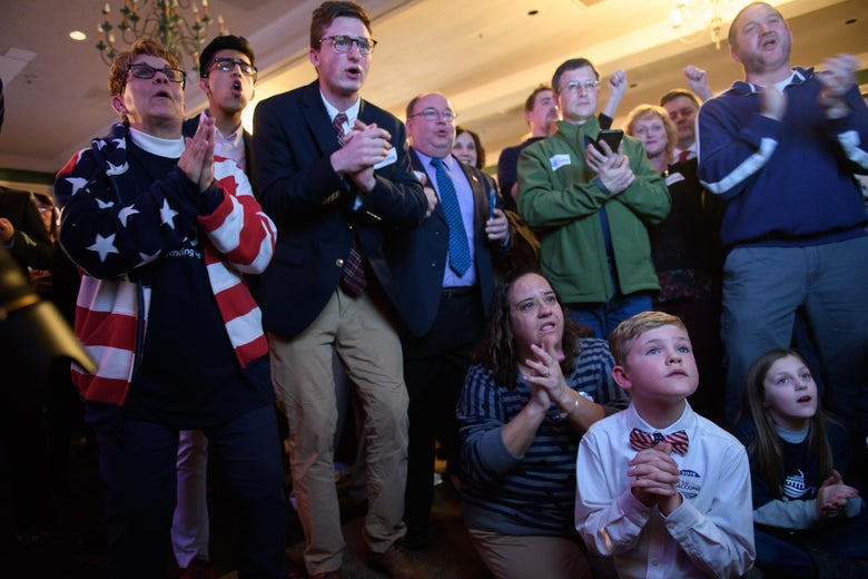 Anticipation builds among supporters as they watch early election results at an election night event for GOP Pennsylvania congressional candidate Rick Saccone on Tuesday.