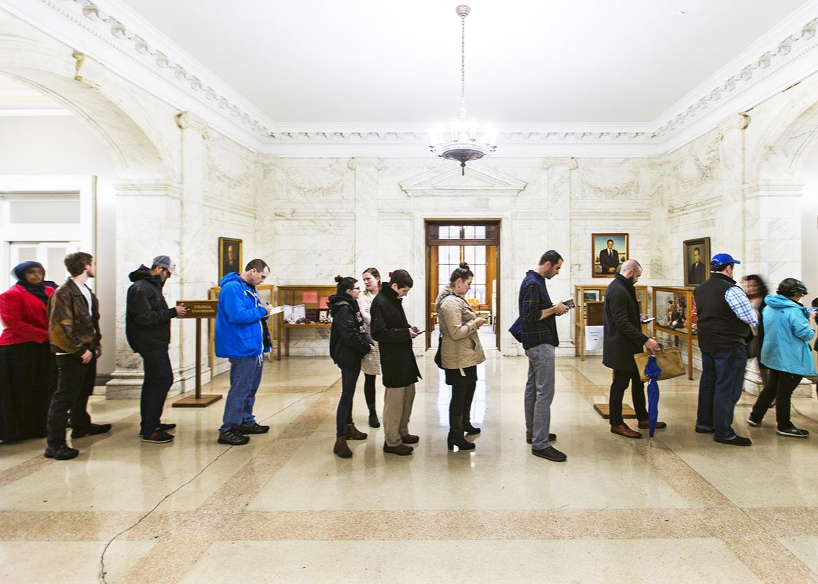 Turnout was strong for the final day of absentee voting at City Hall on Nov. 3.
