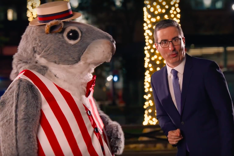 John Oliver Taunts Coal Baron Enraged by Giant Talking Squirrel With Giant Singing Squirrels