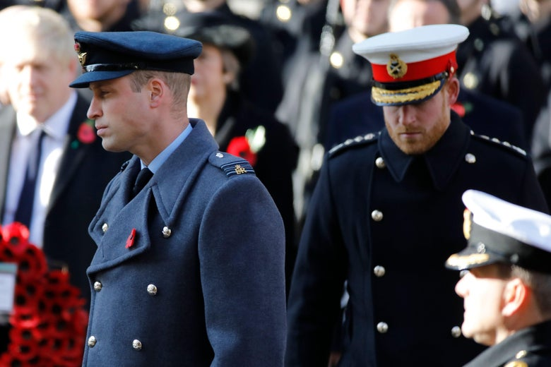 Britain's Prince William, Duke of Cambridge, (L) and Britain's Prince Harry, Duke of Sussex, (R) take part in the Remembrance Sunday ceremony at the Cenotaph on Whitehall in central London, on November 10, 2019.