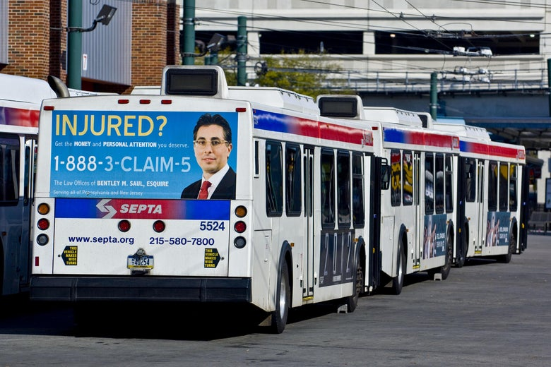 An ad on the back of a SEPTA bus.