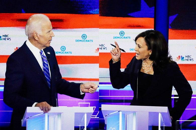 Sen. Kamala Harris and former Vice President Joe Biden.