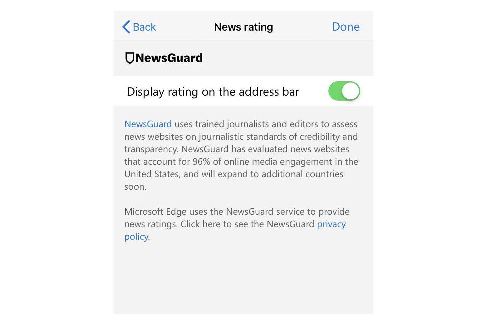 Phone settings allowing you to turn on NewsGuard extension