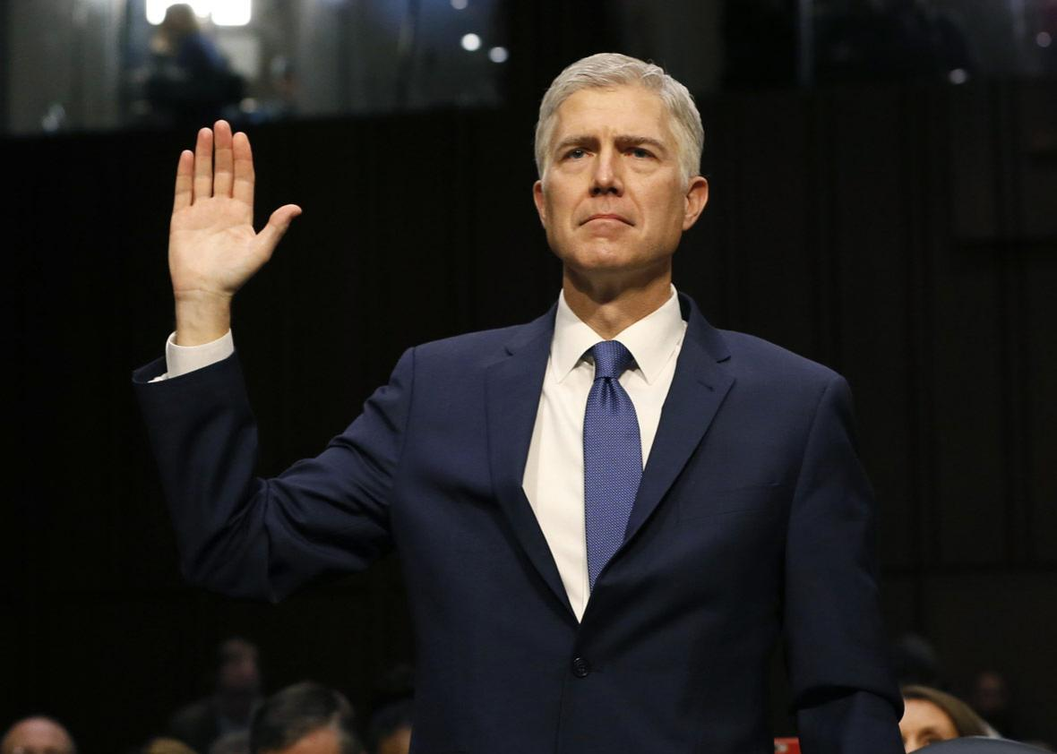 U.S. Supreme Court nominee judge Neil Gorsuch is sworn in to testify at his Senate Judiciary Committee confirmation hearing.