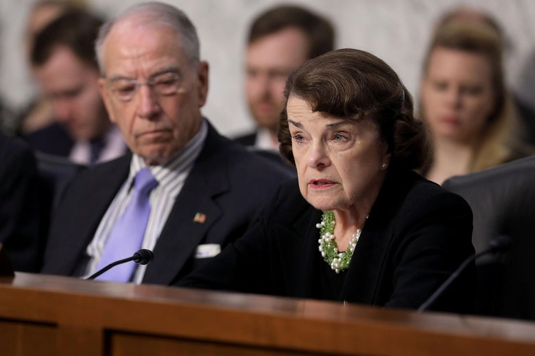 Senate Judiciary Committee ranking member Dianne Feinstein and Chairman Charles Grassley during Brett Kavanaugh's confirmation hearing September 6, 2018 in Washington, DC.