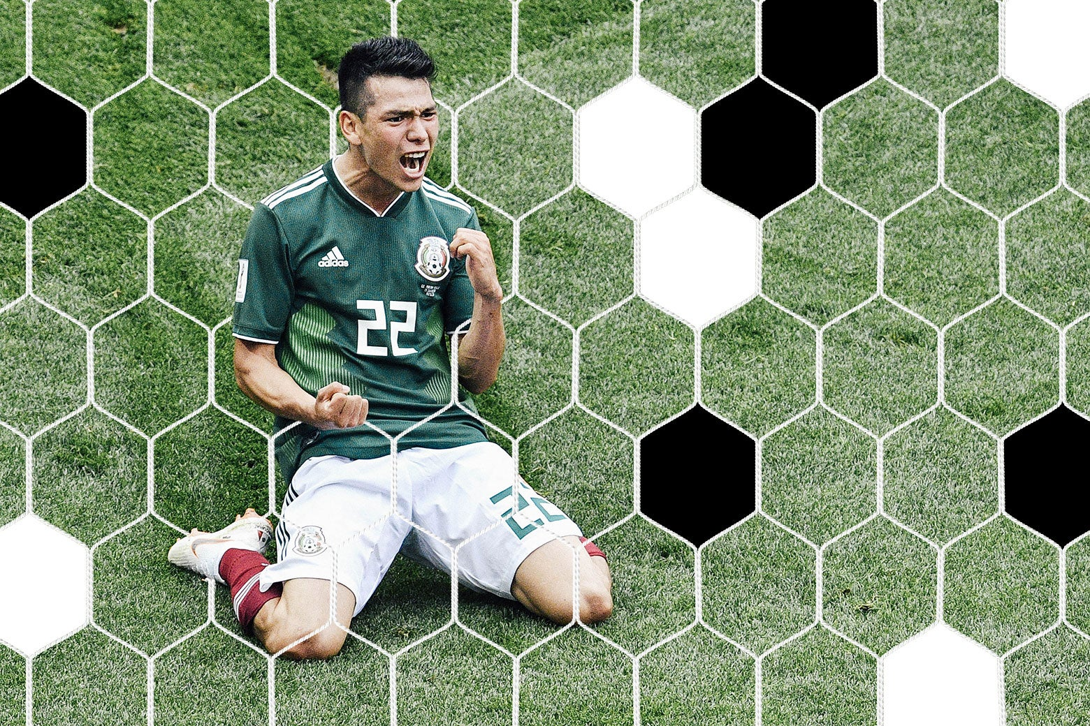 Hirving Lozano kneels on the pitch and pumps his fist in celebration.