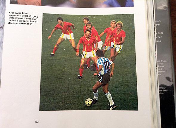 Diego Maradona of Argentina #10 is confronted by a posse of Belgium defenders during the match in the 1982 Wold Cup in Spain.