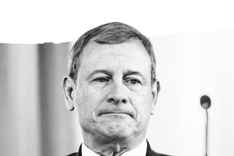 Photo illustration of Supreme Court Chief Justice John Roberts with a ripped page effect.