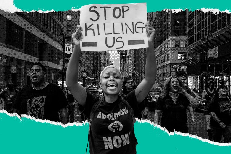 "Photo illustration of a Black female protester carrying a sign that says ""Stop Killing Us"" while wearing a shirt that says ""Abolition Now."""
