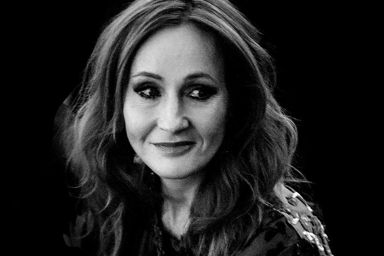 Black-and-white photo of J.K. Rowling.