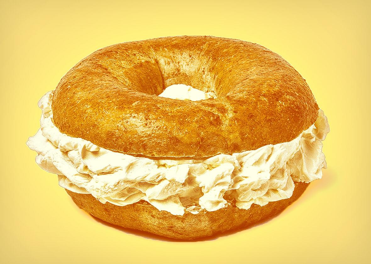 Bagel Overstuffed with Cream Cheese