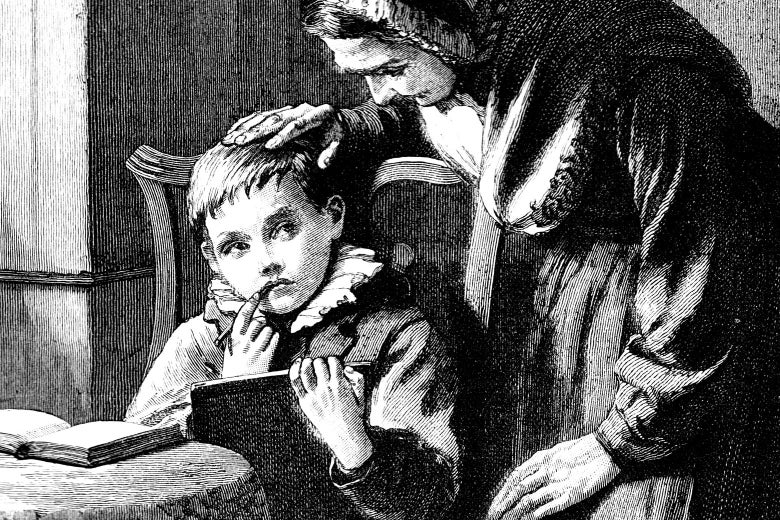 19th-century story illustration of an elderly lady leaning over a boy working at his homework.