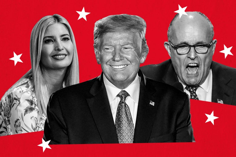 Ivanka Trump, Donald Trump, and Rudy Giuliani seen against a red background surrounded by white stars.