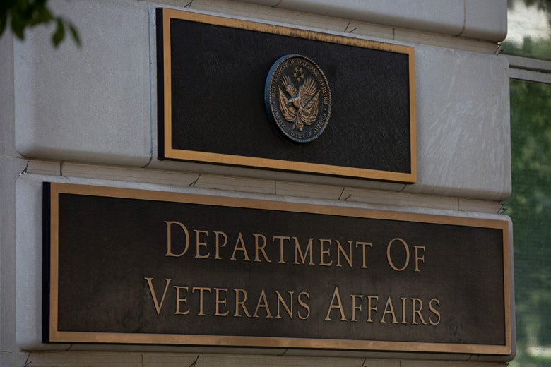 A sign for the the Department of Veterans Affairs building in Washington, DC.
