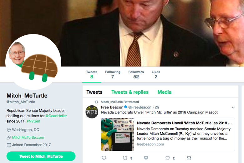 Nevada Democrats' official Mitch McTurtle Twitter page.