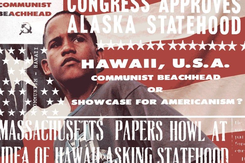 Boy standing in front of Puerto Rican flag, overlaid with headlines from tearsheets from prejudicial media coverage of Hawaiian and Alaskan statehood.