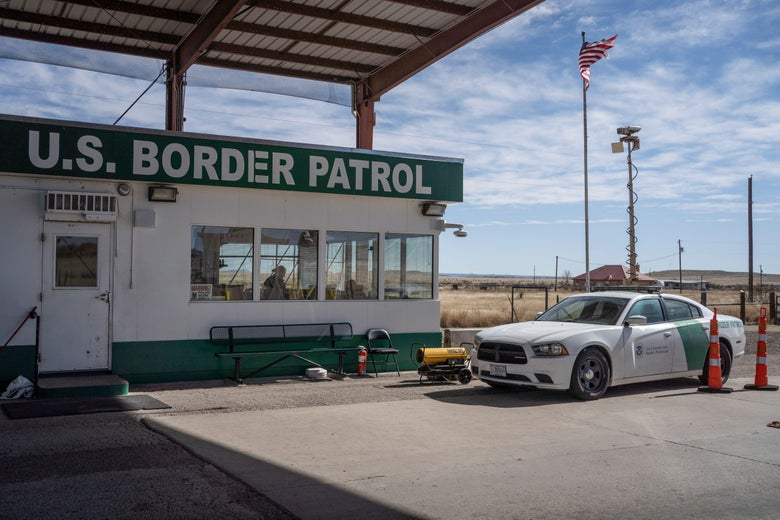 A United States Border Patrol checkpoint in a Texas desert.